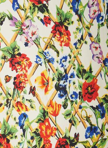 Floral Trellis Motif Scarf, Black,  scarf, lightweight, floral, garden, butterflies, contrast, spring summer 2020
