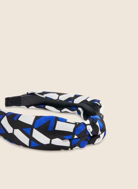 Serre-tête en tissu à motif géométrique, Bleu