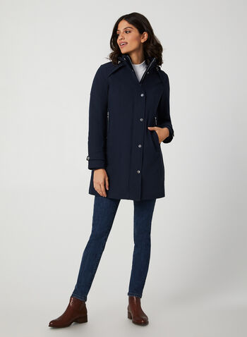 Long Hooded Coat, Blue,  coat, quilt coat, long coat, hood, detachable hood, zipper, pockets, fall 2019, winter 2019