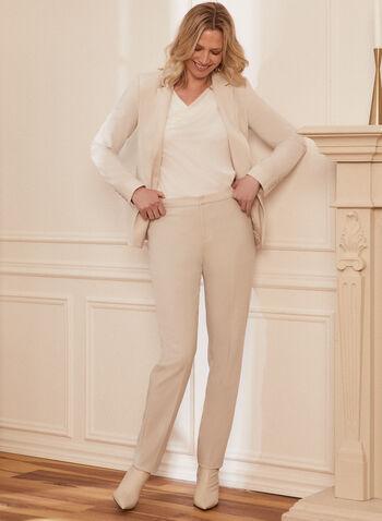 Louben - Pantalon taille haute à jambe droite, Blanc cassé,  pantalon, fait au canada, poches, jambe droite, printemps été 2021