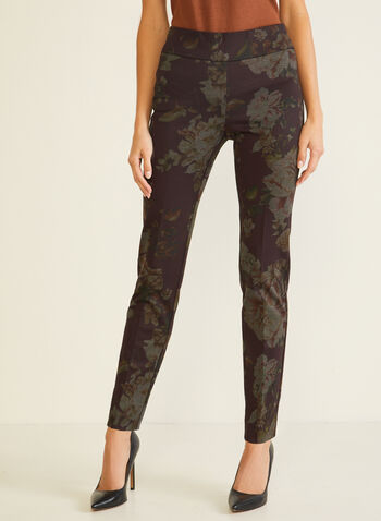 Floral Print Pull-On Pants, Purple,  pants, pull-on, floral, slim, ponte di roma, pleats, fall winter 2020