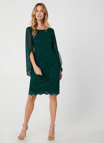 Sequin Lace Sheath Dress, Green, hi-res,  dress, cocktail dress, sequin, lace, sheath, scalloped, tulip sleeves, long sleeves, chiffon sleeves, fall 2019, winter 2019