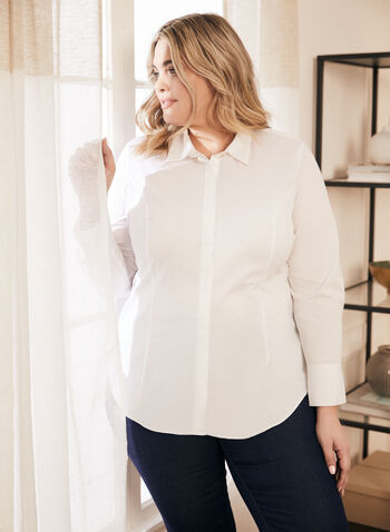 Fitted Cotton Shirt, White,  top, shirt, cotton, long sleeves, buttons, fitted, darts, stretchy, spring summer 2021