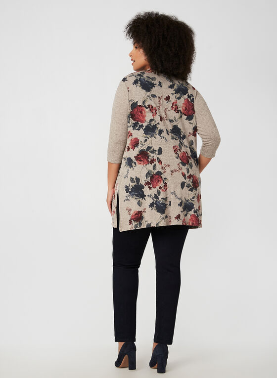 Floral Print Open Front Top, Brown