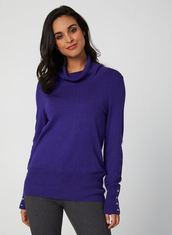 Cowl Neck Sweater, Blue, hi-res,  fall winter 2019, cowl neck, long sleeves, sweater, knit