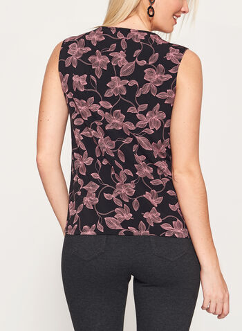 Sleeveless Floral Print Top , Black, hi-res