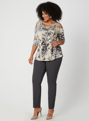 3/4 Sleeve Cold Shoulder Top, Grey, hi-res
