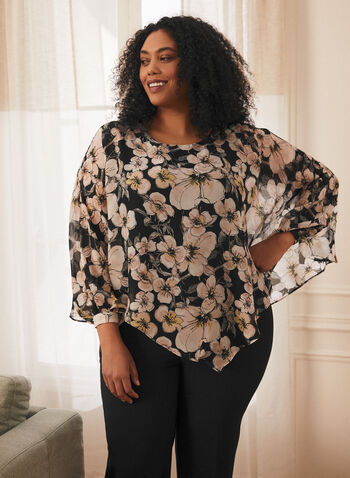 Floral Print Chiffon Poncho Top, Black,  top, poncho, asymmetrical, floral, sheer, chiffon, balloon sleeves, 3/4 sleeves, scoop neck, spring summer 2021