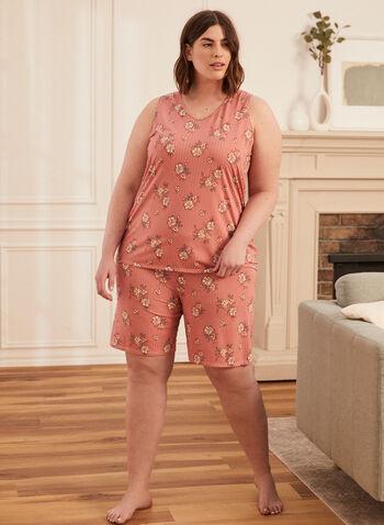 Ensemble pyjama à motif floral, Orange,  ensemble pyjama, camisole, short, fait au canada, encolure arrondie, bretelles larges, floral, fleuri, tricot côtelé, à enfiler, taille élastique, jambe large, printemps été 2021, sans manches, 2 pièces, haut, short