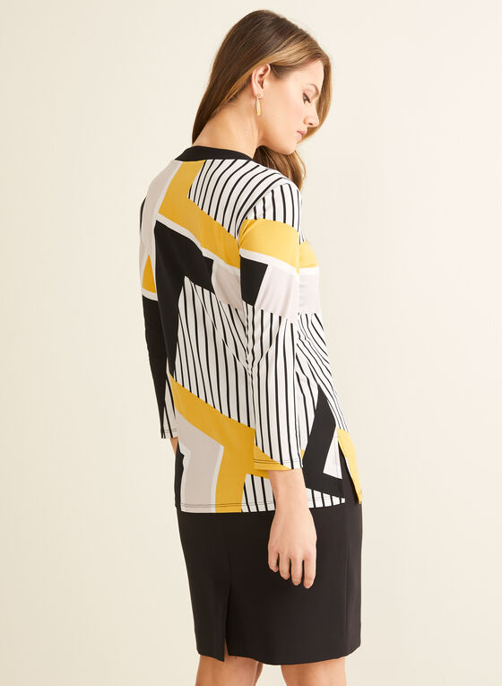 Slit Neck Printed Top, Yellow