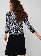 Textured Floral Print Top, Black