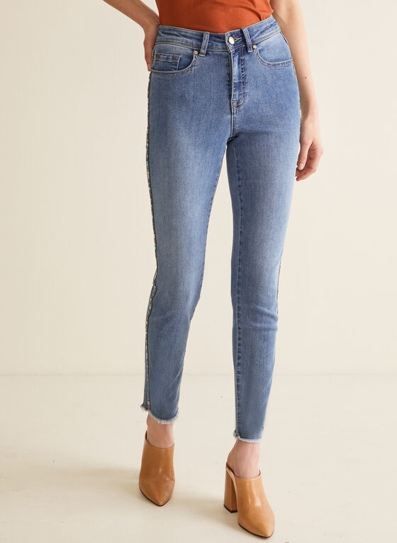 Side Stripe Slim Leg Jeans, Blue