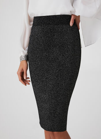 Metallic Pencil Skirt, Black, hi-res,  fall winter 2019, metallic, pull-on