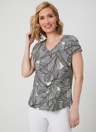 Textured Leaf Print Top, White, hi-res