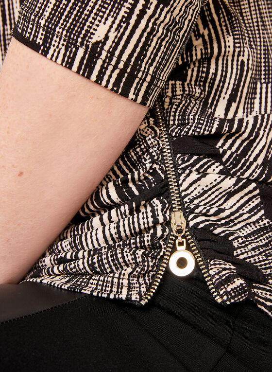 Tunique plissée asymétrique avec zip et manches ¾, Blanc, hi-res