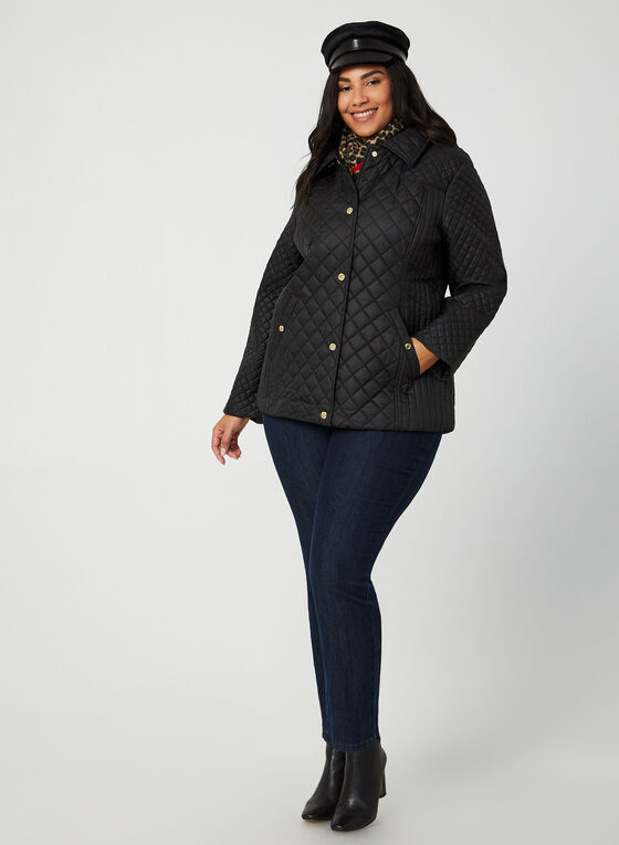 Anne Klein - Quilted Collar Coat, Black