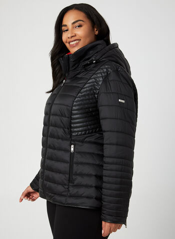 Novelti - Hooded Quilted Coat, Black,  coat, long sleeves, Glow retroreflective technology, zipper closure, quilted fabric, removable hood, Novelti, fall 2019