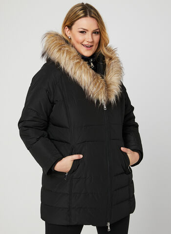 Faux Fur Trim Down Coat, Black, hi-res