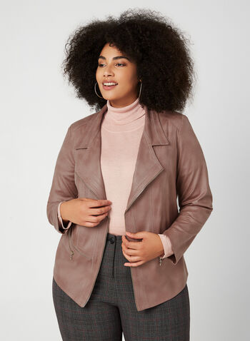 Vex - Faux Leather Jacket, Purple,  long sleeves, blazer, jacket, suede, zipper, notch collar, fall 2019, winter 2019