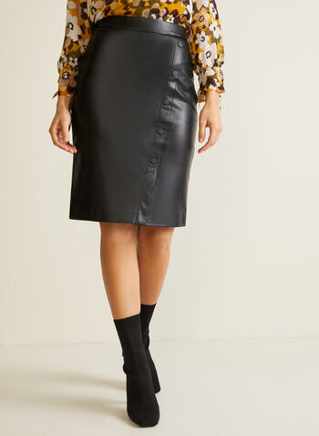 Faux Leather Button Detail Skirt, Black,  skirt, pencil, faux leather, button detail, pull-on, fall winter 2020