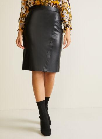 Jupe en similicuir à détails boutons, Noir,  automne hiver 2020, jupe, crayon, ajusté, faux cuir, similicuir, cuir, pull-on, taille élastique, surpiqûres, boutons
