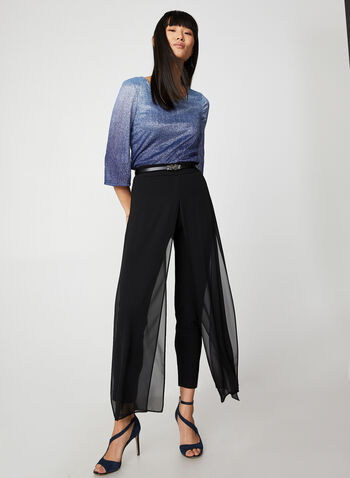 Two-Tone Metallic Top, Blue, hi-res,  canada, metallic top, metallic, two-tone, flare sleeves, 3/4 sleeves, scoop neck, holiday top, fall 2019, winter 2019