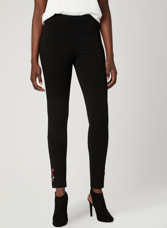 Pantalon pull-on coupe moderne et broderies , Noir, hi-res