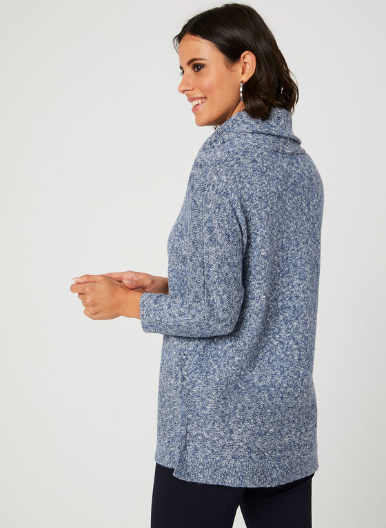 Heather Knit Cowl Neck Sweater, Blue, hi-res