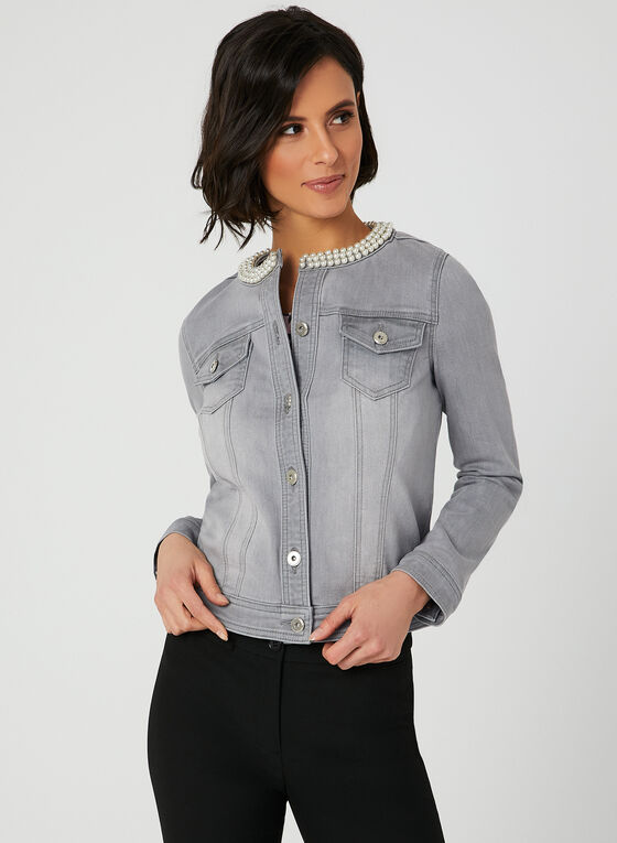 Pearl Detail Denim Jacket, Grey