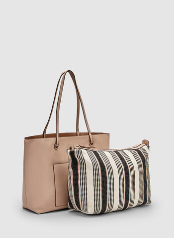 Faux Leather Tote Bag, Brown, hi-res,  faux leather, spring 2019