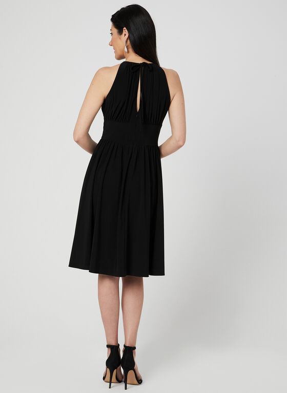 Empire Waist Halter Dress, Black, hi-res
