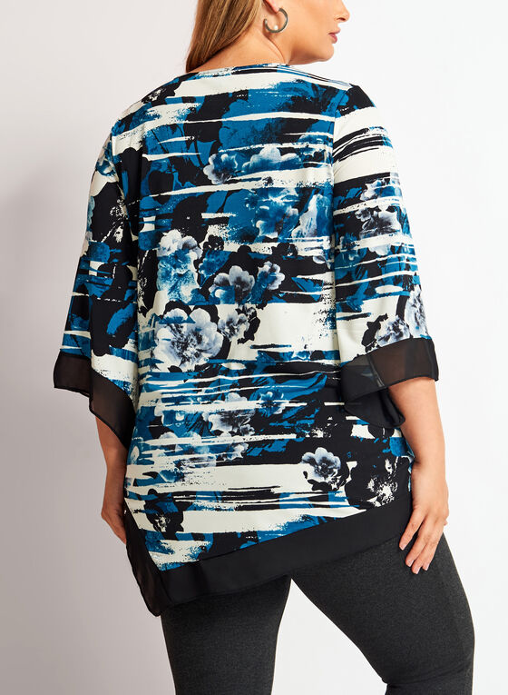 ¾ Bell Sleeve Floral Print Asymmetric Tunic , Blue, hi-res