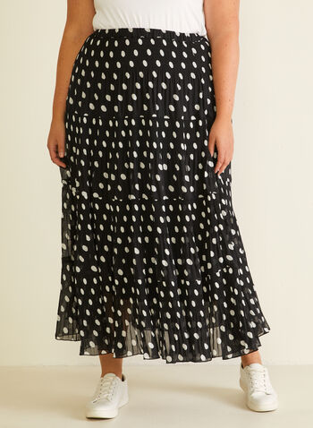 Alison Sheri - Chiffon Peasant Skirt, Black,  skirt, maxi, peasant, chiffon, polka dot, spring summer 2020