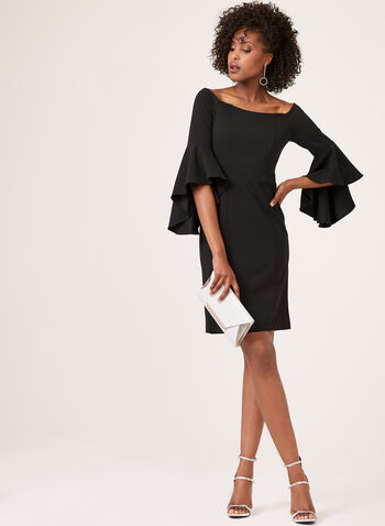 Off The Shoulder Bell Sleeve Dress, Black, hi-res