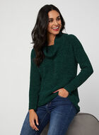 Cowl Neck Chenille Sweater, Green, hi-res