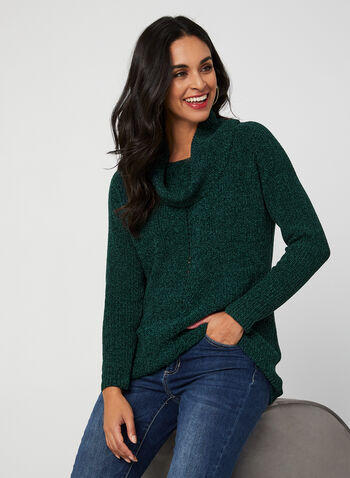 Cowl Neck Chenille Sweater, Green, hi-res,  sweater, knit, long sleeves, chenille, cowl neck, fall 2019, winter 2019