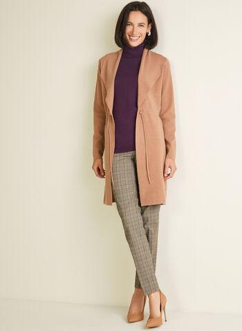 Foldover Collar Cardigan, Brown,  cardigan, long, foldover collar, knit, drawstring, fall winter 2020