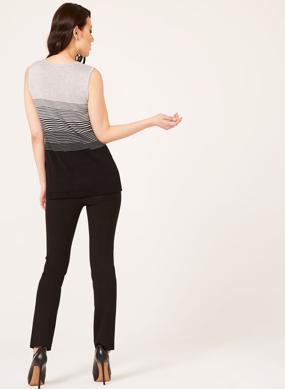 Stripe Print Knit Tank Top, Black, hi-res