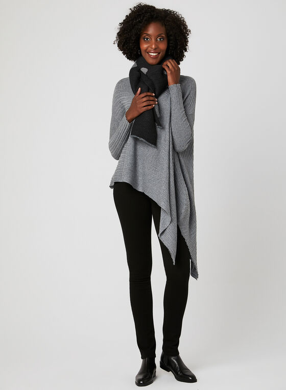 Elena Wang - Pull style poncho en tricot, Gris, hi-res