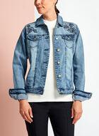 Blossom Jeans - Floral Embroidered Washed Denim Jacket, Blue, hi-res