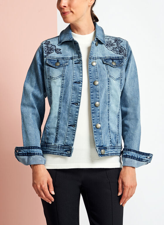 Blossom Jeans - Floral Embroidered Washed Denim Jacket, Blue, hi-res