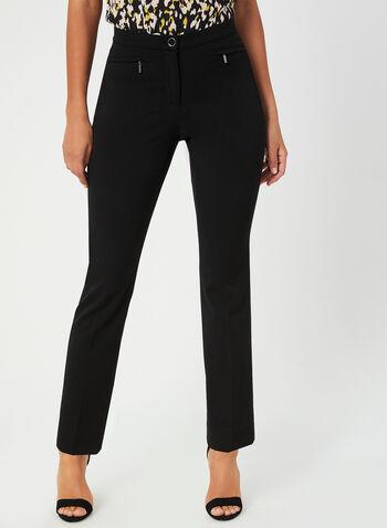 Pantalon coupe signature à jambe droite, Noir, hi-res,  pantalon, signature, jambe droite, automne hiver 2019