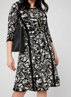 Robe ajustée et évasée à imprimé abstrait, Noir, hi-res