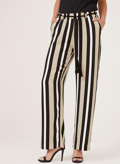 Pantalon rayé pull-on à jambe large et ceinture corde