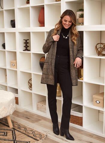 Cardigan ouvert à motif de carreaux, Noir,  automne hiver 2020, cardigan, ouvert, manches longues, col châle, motif, carreaux, carreauté, poches, tricot