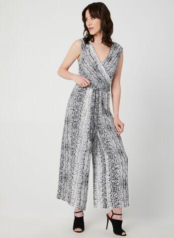Emma & Michele - Snake Print Jumpsuit, Grey, hi-res,  sleeveless, wide leg, cropped, fall 2019, winter 2019, jersey