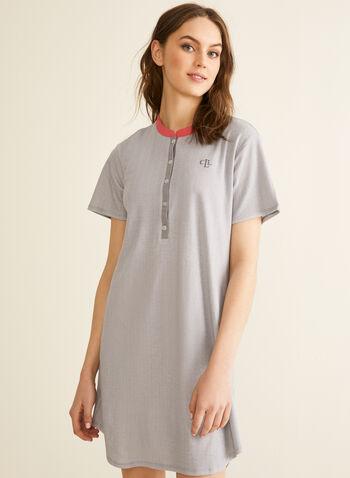 Claudel Lingerie - Short Sleeve Nightshirt, Grey,  sleepwear, nightshirt, print, short sleeves, buttons, stretchy, spring summer 2020