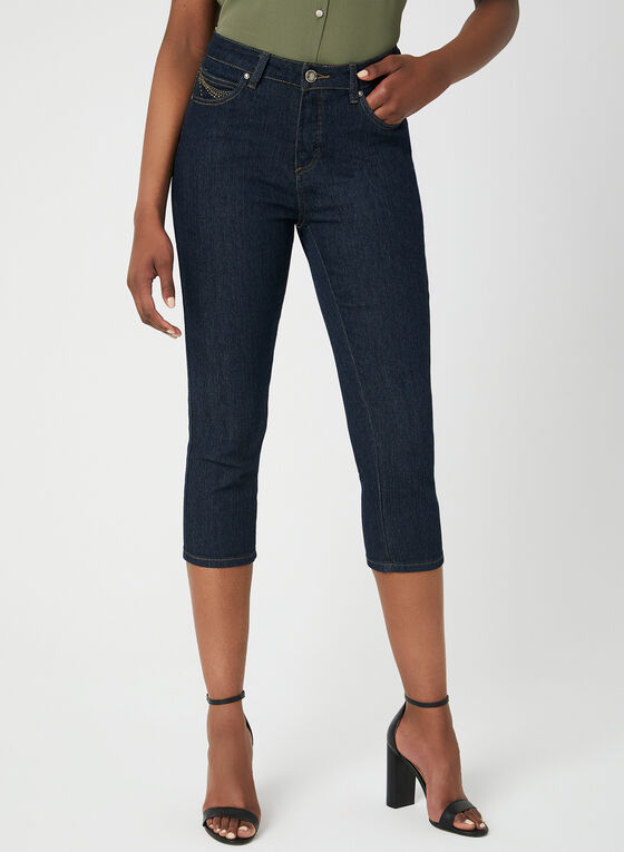 Simon Chang - Signature Fit Denim Capri Pants, Blue, hi-res