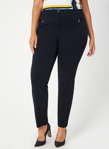Pantalon coupe cité à jambe droite, Bleu,  pantalon, cité, jambe droite, pinces, automne hiver 2019