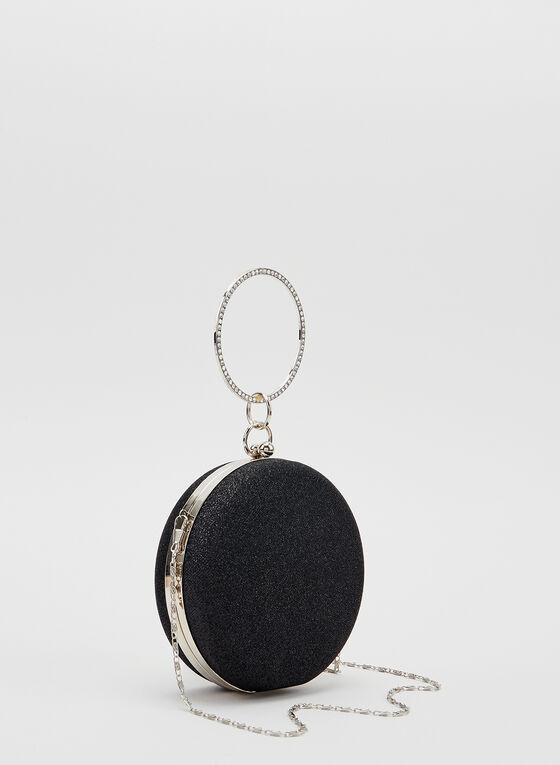 Crystal Wristlet Round Clutch, Black